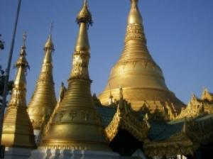 ヤンゴンの中心で黄金色の神々しい輝きを見せるシュエダゴン・パゴダ